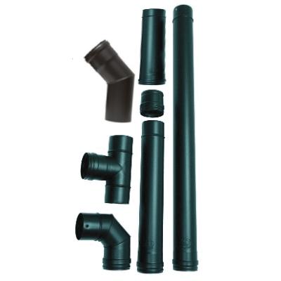 Rozsdamentes pelletkályha füstcső készlet (ZV 14-24 és ZVB 16-24, fekete - 80 mm)