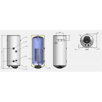 ELDOM Green Line SL120 - indirekt használati meleg víz tartály 1 hőcserélővel (balos / 100 liter / 2 kW / 462 mm Ø)