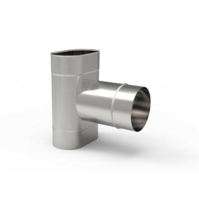 90° Ovális bekötő idom 0,8mm-es saválló anyagból (110X185)