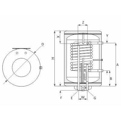 SUNSYSTEM MB V/S1 indirekt HMV tartály metszet ábra
