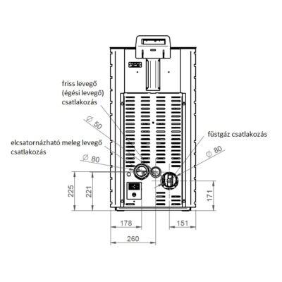 CentroPelet Z12C csatlakozási méretek