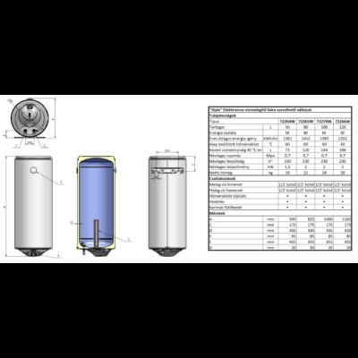 ELDOM Style 100 literes zománcozott elektromos vízmelegítő (2 kW)